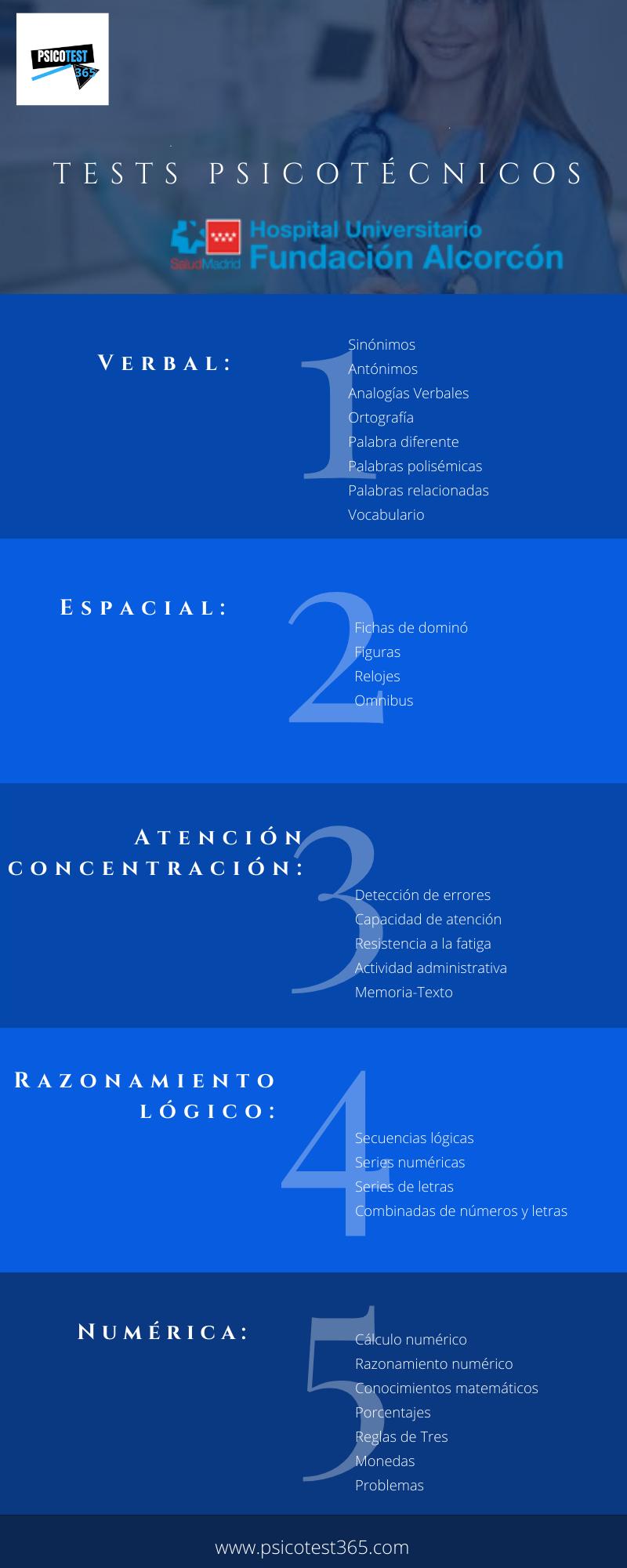 infografía psicotécnicos hospital alcorcón