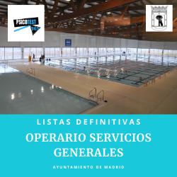 Lista definitiva de Admitidos Operarios de Servicios Generales