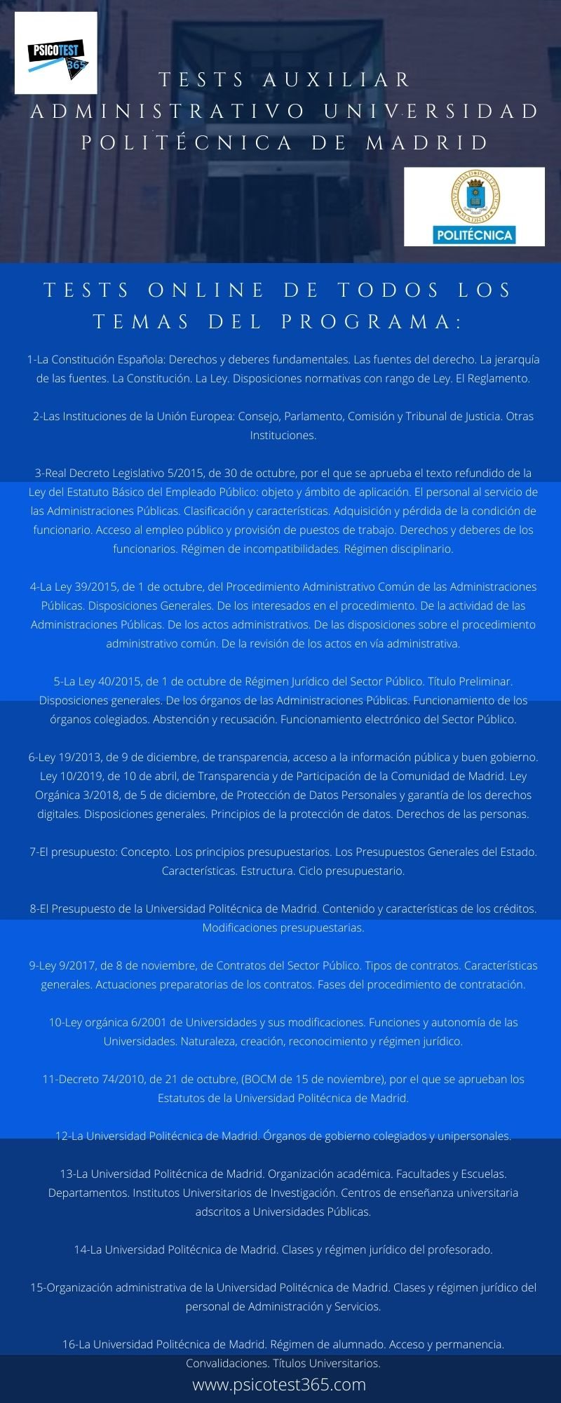 infografia tests auxiliares administrativos politécnica